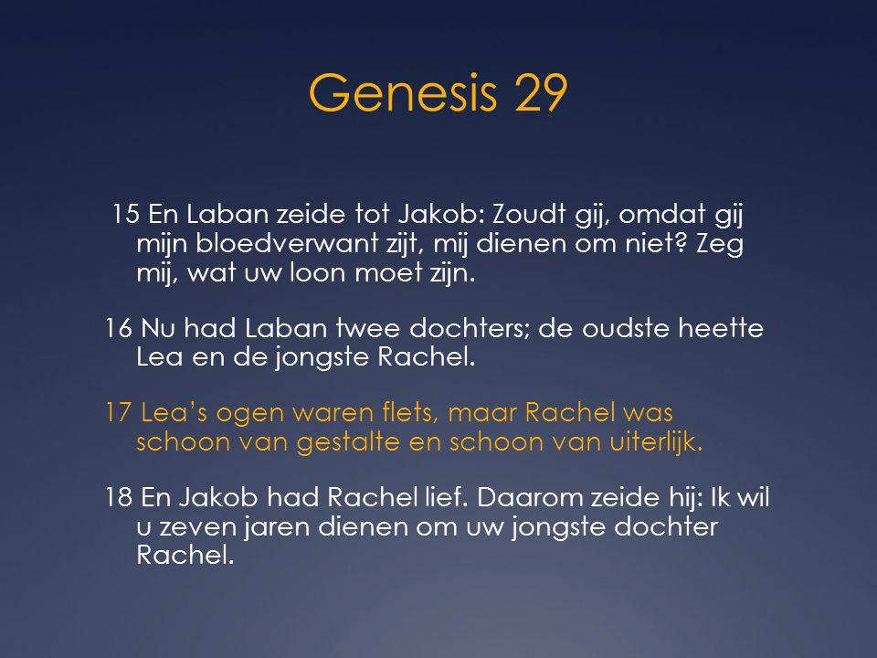 Genesis 29 15 En Laban zeide tot Jakob: Zoudt gij, omdat gij mijn bloedverwant zijt, mij dienen om niet? Zeg mij, wat uw loon moet zijn. 16 Nu had Lab