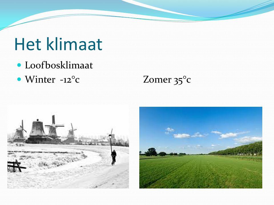 Het klimaat  Loofbosklimaat  Winter -12°c Zomer 35°c