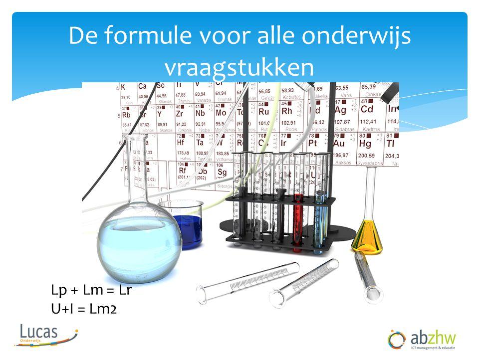 De formule voor alle onderwijs vraagstukken Lp + Lm = Lr U+I = Lm2