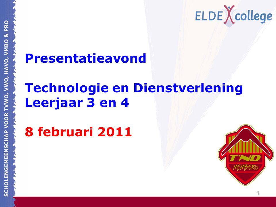 1 Presentatieavond Technologie en Dienstverlening Leerjaar 3 en 4 8 februari 2011