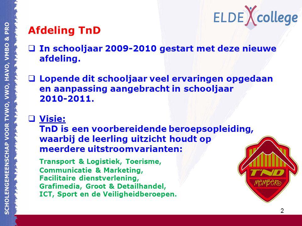 2 Afdeling TnD  In schooljaar 2009-2010 gestart met deze nieuwe afdeling.