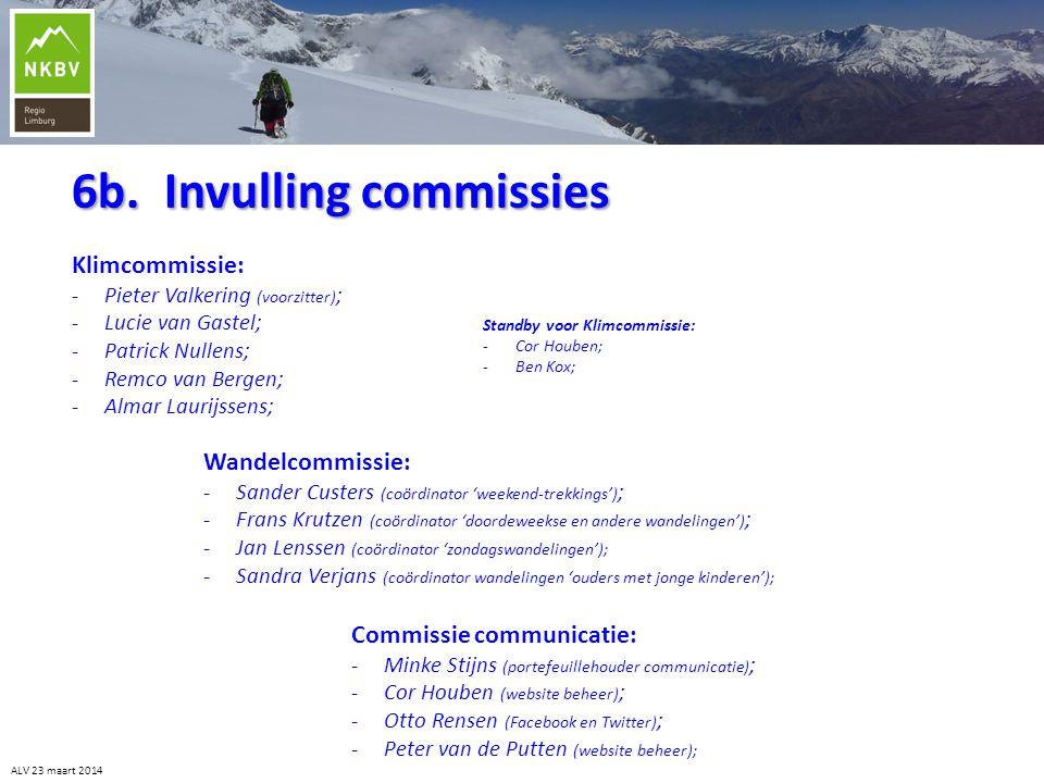 6b. Invulling commissies Klimcommissie: -Pieter Valkering (voorzitter) ; -Lucie van Gastel; -Patrick Nullens; -Remco van Bergen; -Almar Laurijssens; A