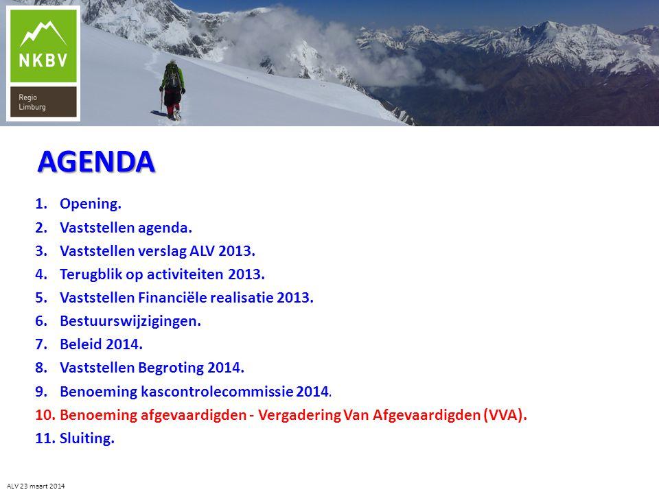 ALV 23 maart 2014 1.Opening. 2.Vaststellen agenda. 3.Vaststellen verslag ALV 2013. 4.Terugblik op activiteiten 2013. 5.Vaststellen Financiële realisat