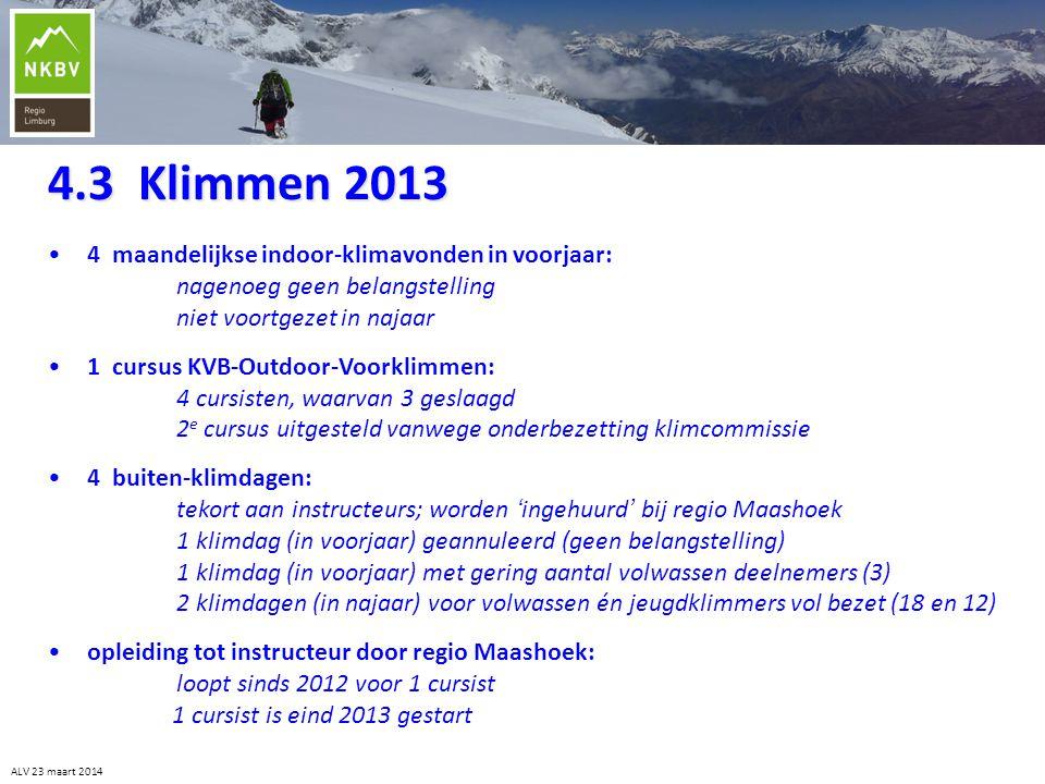 4.3 Klimmen 2013 ALV 23 maart 2014 •4 maandelijkse indoor-klimavonden in voorjaar: nagenoeg geen belangstelling niet voortgezet in najaar •1 cursus KV