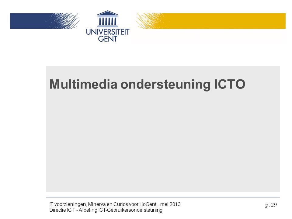 Multimedia ondersteuning ICTO IT-voorzieningen, Minerva en Curios voor HoGent - mei 2013 Directie ICT - Afdeling ICT-Gebruikersondersteuning p. 29