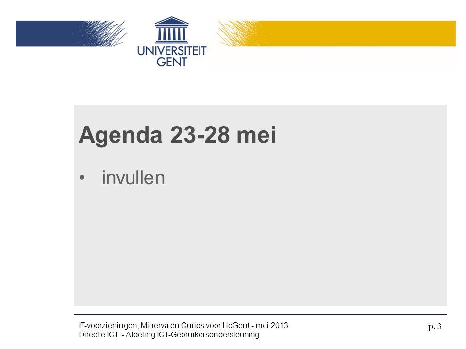 1.UGent-account 2.Veilig werken 3.UGent-kaart 4.Aansluiten op UGentNet PAUZE Agenda (1) IT-voorzieningen, Minerva en Curios voor HoGent - mei 2013 Directie ICT - Afdeling ICT-Gebruikersondersteuning p.