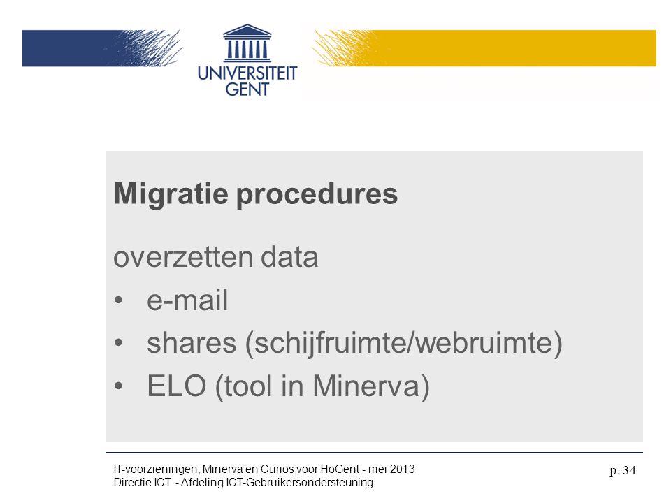 overzetten data •e-mail •shares (schijfruimte/webruimte) •ELO (tool in Minerva) Migratie procedures IT-voorzieningen, Minerva en Curios voor HoGent -