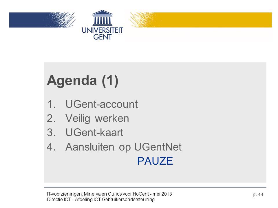 1.UGent-account 2.Veilig werken 3.UGent-kaart 4.Aansluiten op UGentNet PAUZE Agenda (1) IT-voorzieningen, Minerva en Curios voor HoGent - mei 2013 Dir