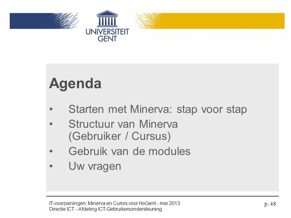 •Starten met Minerva: stap voor stap •Structuur van Minerva (Gebruiker / Cursus) •Gebruik van de modules •Uw vragen Agenda IT-voorzieningen, Minerva e