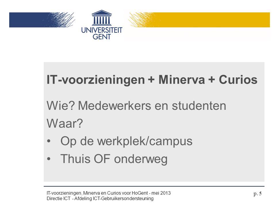 Wie? Medewerkers en studenten Waar? •Op de werkplek/campus •Thuis OF onderweg IT-voorzieningen + Minerva + Curios IT-voorzieningen, Minerva en Curios