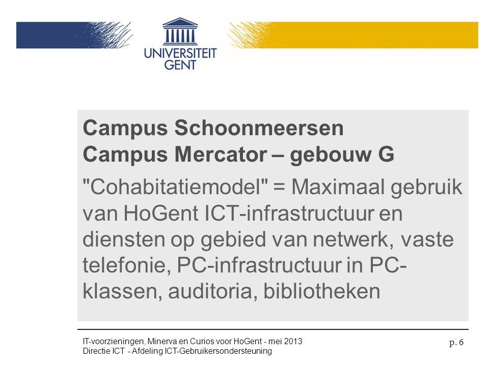 UGent Campus ingericht naar UGent standaarden (UGent ICT infrastructuur uit in die gebouwen).