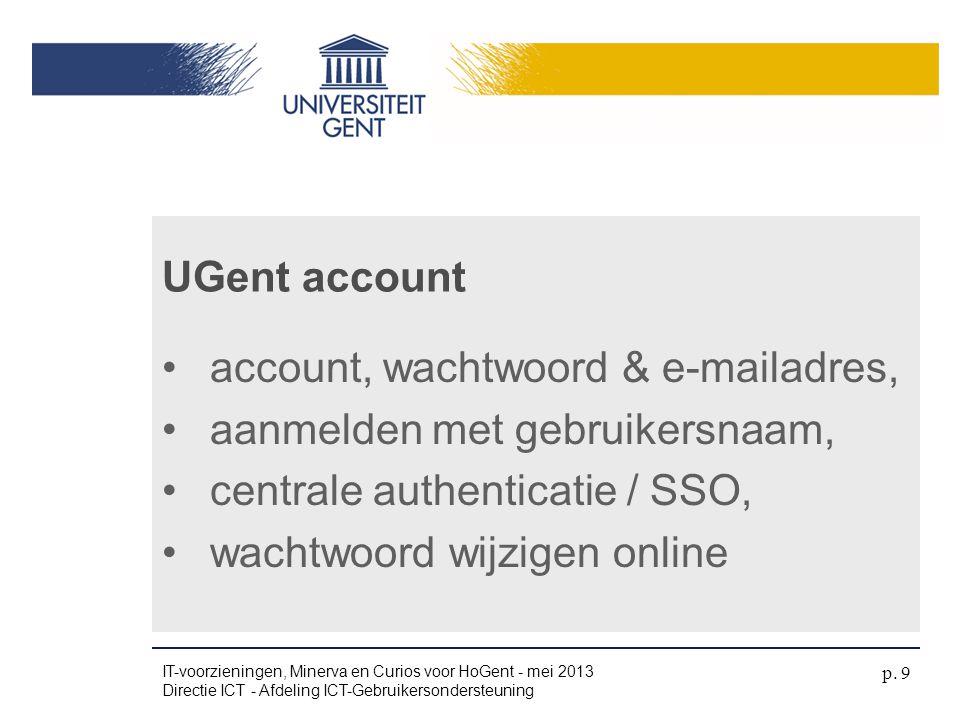 •account, wachtwoord & e-mailadres, •aanmelden met gebruikersnaam, •centrale authenticatie / SSO, •wachtwoord wijzigen online UGent account IT-voorzie
