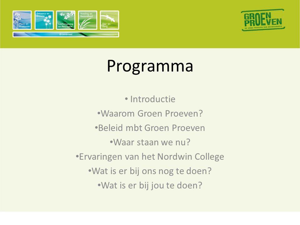 Programma • Introductie • Waarom Groen Proeven. • Beleid mbt Groen Proeven • Waar staan we nu.