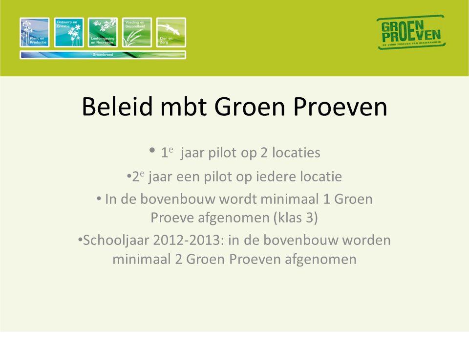 Beleid mbt Groen Proeven • 1 e jaar pilot op 2 locaties • 2 e jaar een pilot op iedere locatie • In de bovenbouw wordt minimaal 1 Groen Proeve afgenomen (klas 3) • Schooljaar 2012-2013: in de bovenbouw worden minimaal 2 Groen Proeven afgenomen