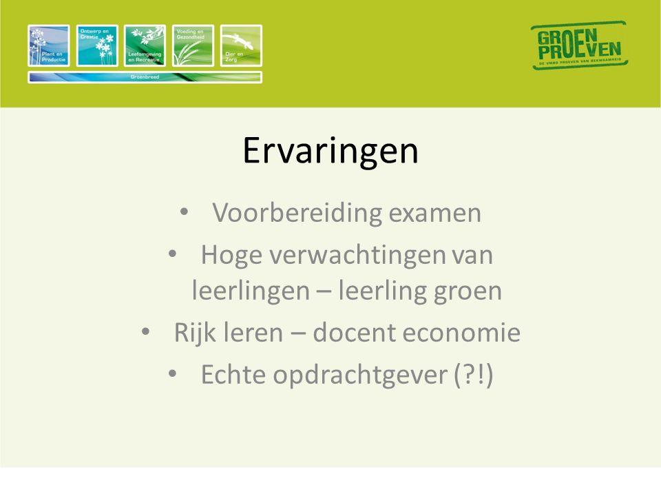 Ervaringen • Voorbereiding examen • Hoge verwachtingen van leerlingen – leerling groen • Rijk leren – docent economie • Echte opdrachtgever ( !)