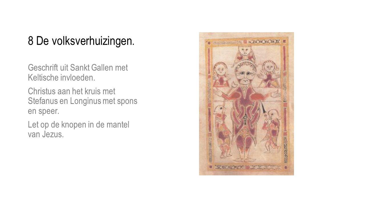 Geschrift uit Sankt Gallen met Keltische invloeden. Christus aan het kruis met Stefanus en Longinus met spons en speer. Let op de knopen in de mantel