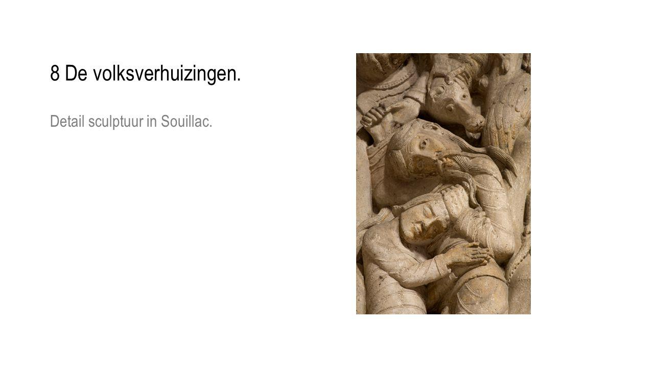 Detail sculptuur in Souillac. 8 De volksverhuizingen.