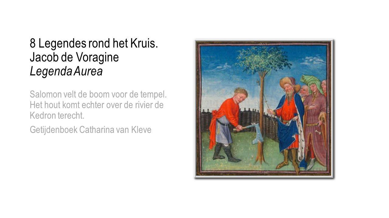 Salomon velt de boom voor de tempel. Het hout komt echter over de rivier de Kedron terecht. Getijdenboek Catharina van Kleve