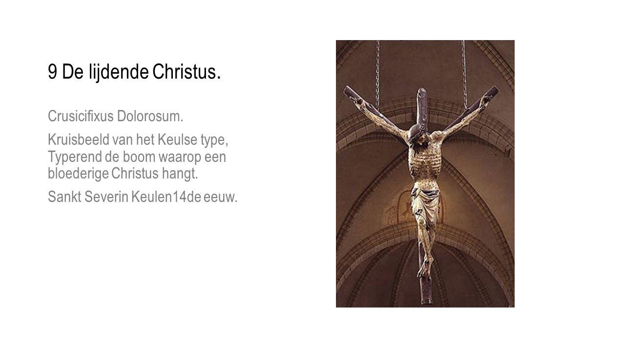 Crusicifixus Dolorosum. Kruisbeeld van het Keulse type, Typerend de boom waarop een bloederige Christus hangt. Sankt Severin Keulen14de eeuw. 9 De lij