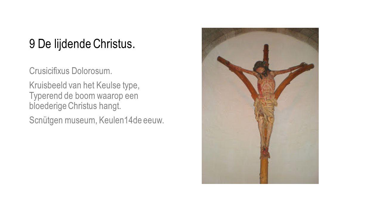 Crusicifixus Dolorosum. Kruisbeeld van het Keulse type, Typerend de boom waarop een bloederige Christus hangt. Scnütgen museum, Keulen14de eeuw.