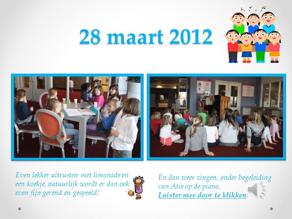 28 maart 2012 Even lekker uitrusten met limonade en een koekje, natuurlijk wordt er dan ook even fijn gerend en gespeeld.