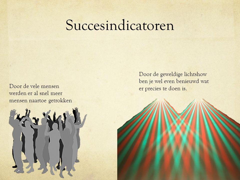 Succesindicatoren Door de geweldige lichtshow ben je wel even benieuwd wat er precies te doen is.