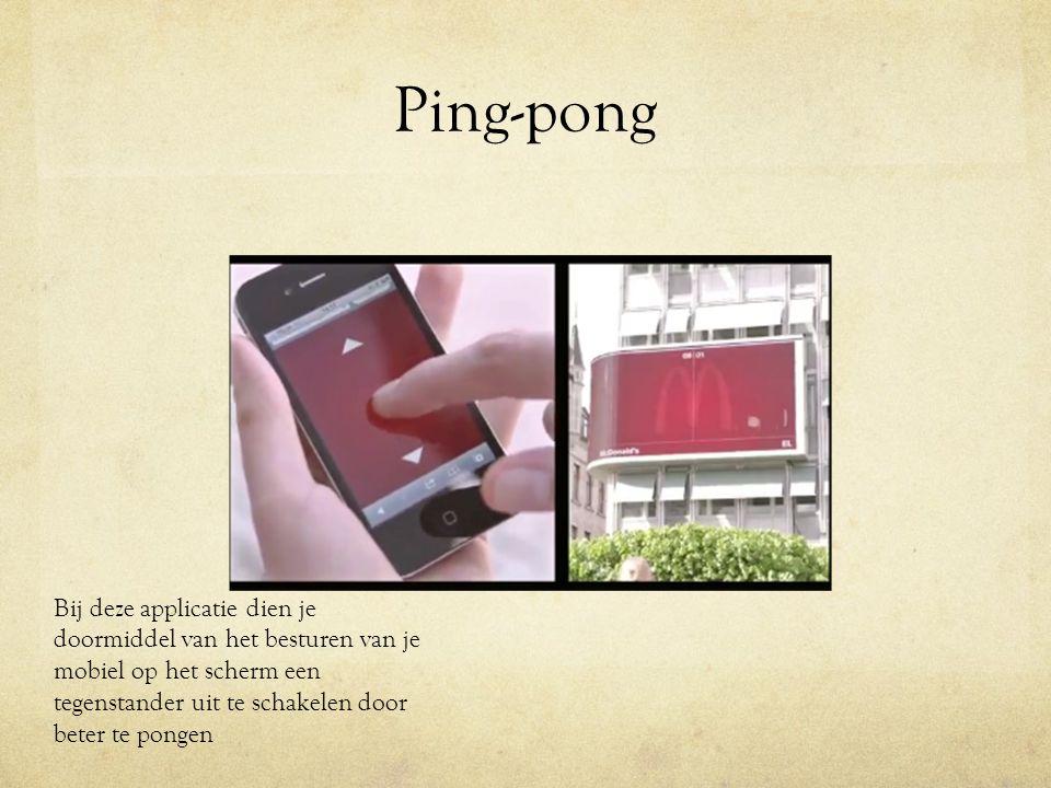 Ping-pong Bij deze applicatie dien je doormiddel van het besturen van je mobiel op het scherm een tegenstander uit te schakelen door beter te pongen