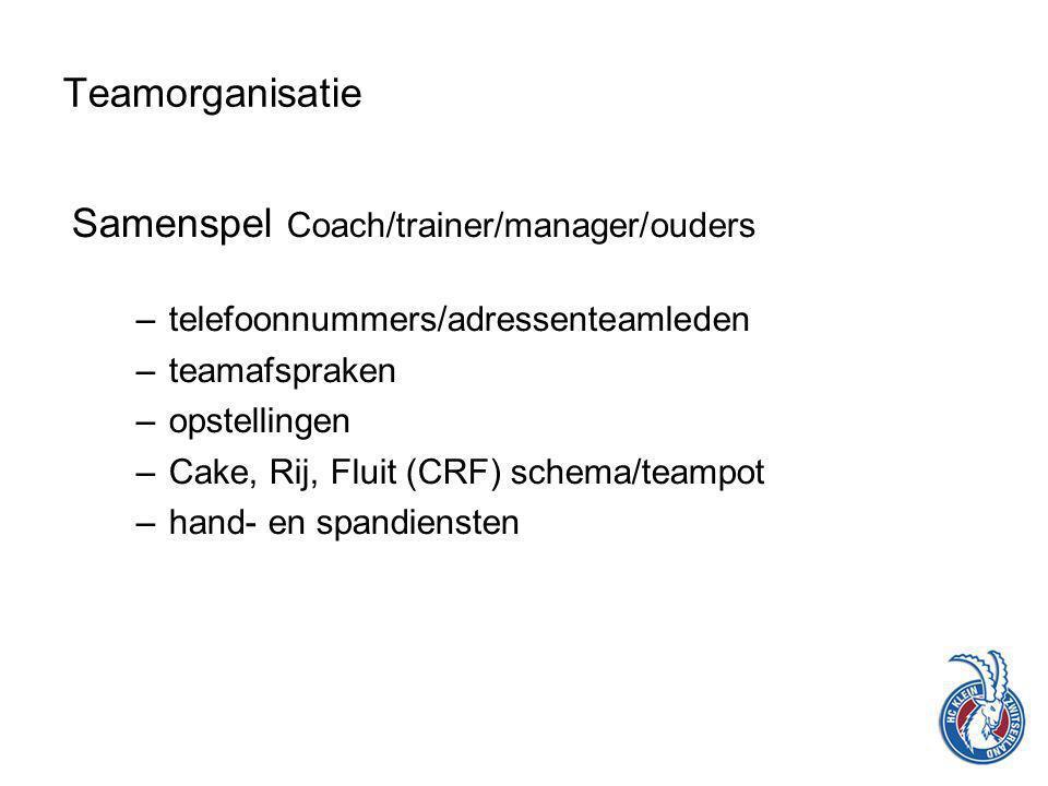 Samenspel Coach/trainer/manager/ouders –telefoonnummers/adressenteamleden –teamafspraken –opstellingen –Cake, Rij, Fluit (CRF) schema/teampot –hand- en spandiensten Teamorganisatie