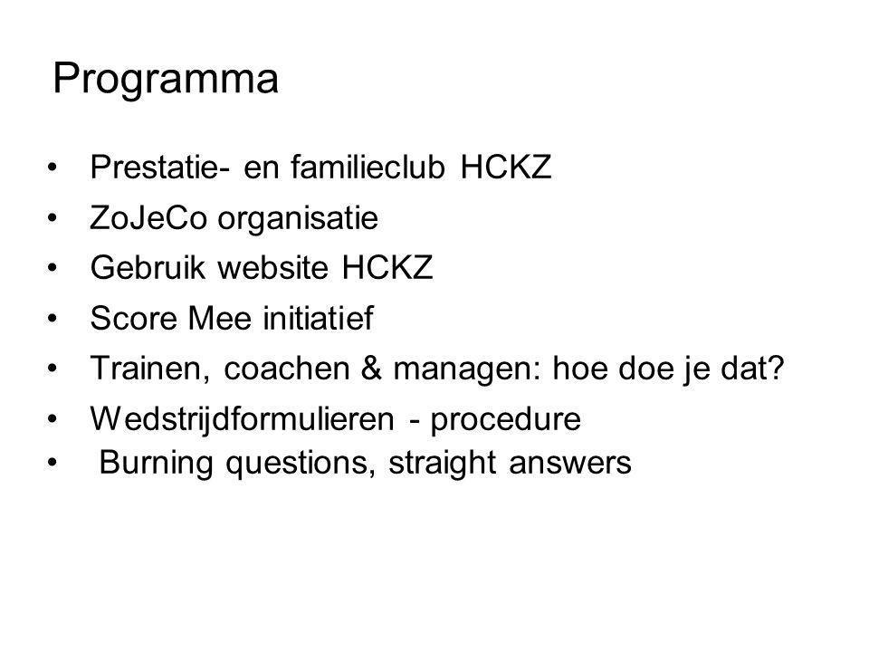 •Prestatie- en familieclub HCKZ •ZoJeCo organisatie •Gebruik website HCKZ •Score Mee initiatief •Trainen, coachen & managen: hoe doe je dat.