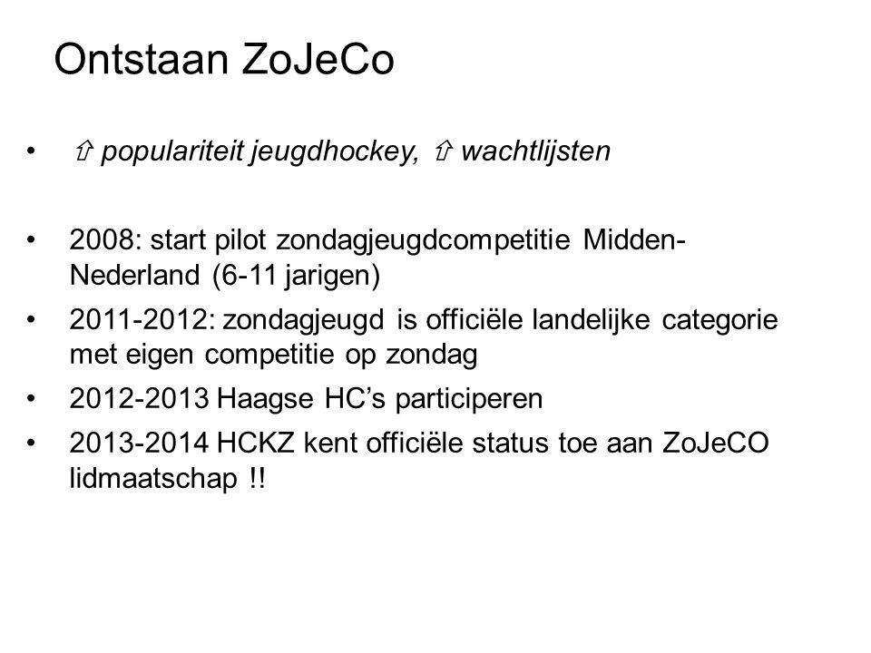 Ontstaan ZoJeCo •  populariteit jeugdhockey,  wachtlijsten •2008: start pilot zondagjeugdcompetitie Midden- Nederland (6-11 jarigen) •2011-2012: zondagjeugd is officiële landelijke categorie met eigen competitie op zondag •2012-2013 Haagse HC's participeren •2013-2014 HCKZ kent officiële status toe aan ZoJeCO lidmaatschap !!