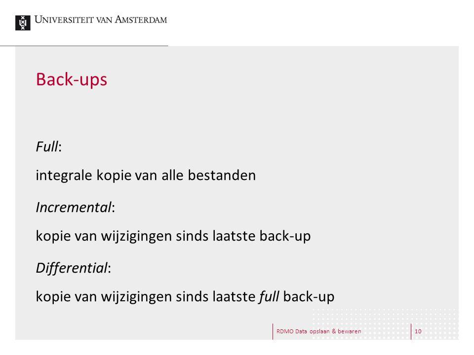 RDMO Data opslaan & bewaren10 Back-ups Full: integrale kopie van alle bestanden Incremental: kopie van wijzigingen sinds laatste back-up Differential: kopie van wijzigingen sinds laatste full back-up