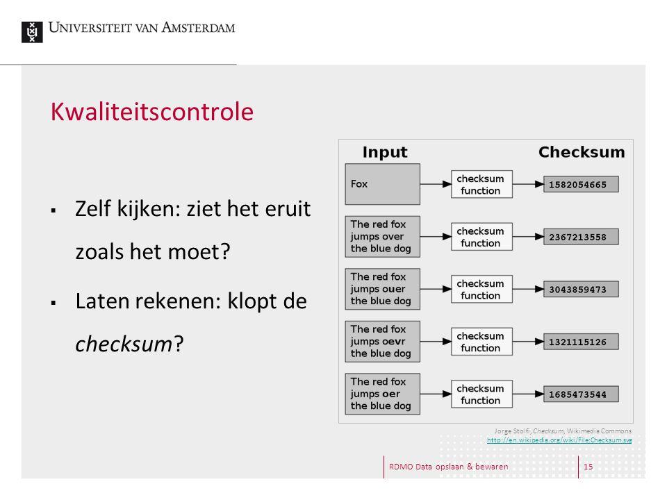 Kwaliteitscontrole  Zelf kijken: ziet het eruit zoals het moet?  Laten rekenen: klopt de checksum? RDMO Data opslaan & bewaren15 Jorge Stolfi, Check