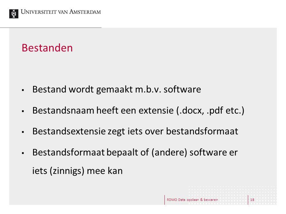 RDMO Data opslaan & bewaren18 Bestanden  Bestand wordt gemaakt m.b.v. software  Bestandsnaam heeft een extensie (.docx,.pdf etc.)  Bestandsextensie