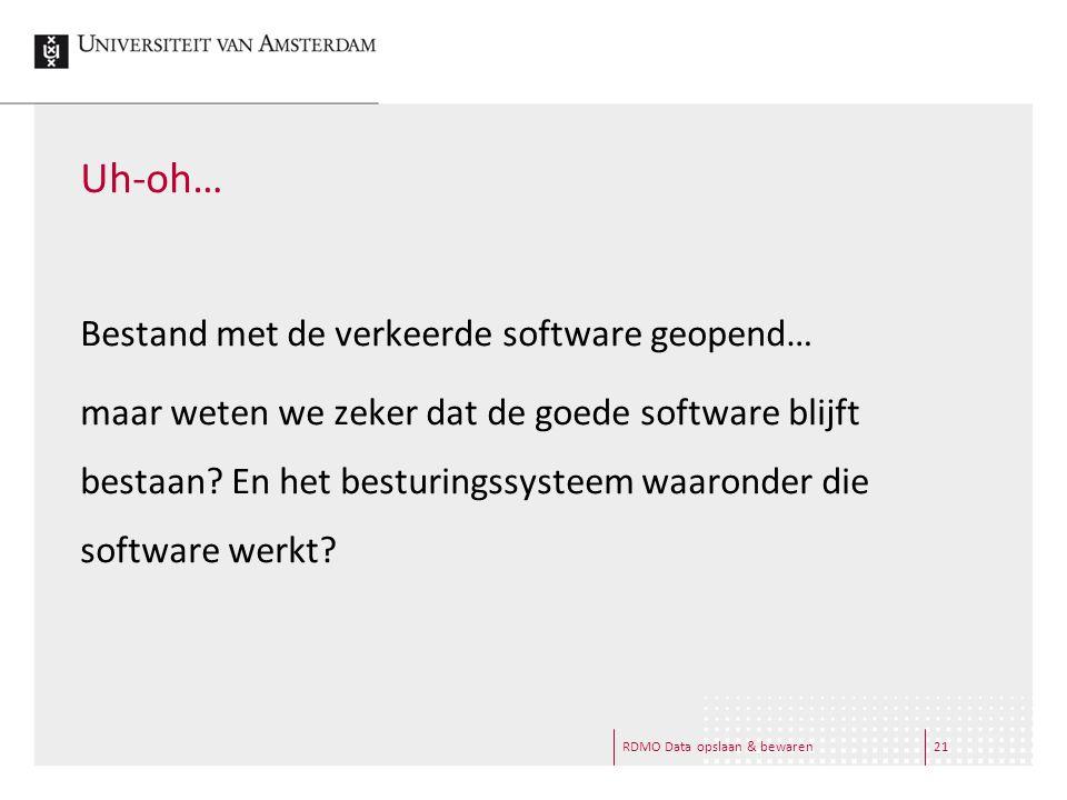 RDMO Data opslaan & bewaren21 Uh-oh… Bestand met de verkeerde software geopend… maar weten we zeker dat de goede software blijft bestaan.