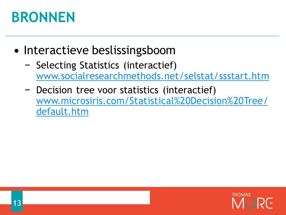 • Interactieve beslissingsboom − Selecting Statistics (interactief) www.socialresearchmethods.net/selstat/ssstart.htm www.socialresearchmethods.net/selstat/ssstart.htm − Decision tree voor statistics (interactief) www.microsiris.com/Statistical%20Decision%20Tree/ default.htm www.microsiris.com/Statistical%20Decision%20Tree/ default.htm BRONNEN 13