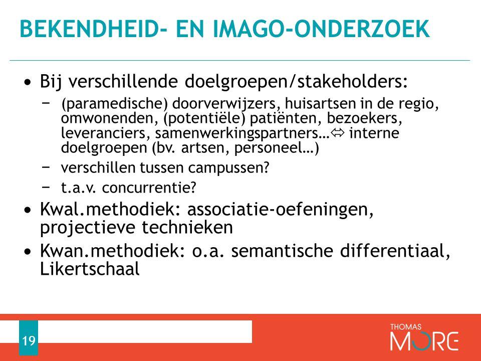 • Bij verschillende doelgroepen/stakeholders: − (paramedische) doorverwijzers, huisartsen in de regio, omwonenden, (potentiële) patiënten, bezoekers, leveranciers, samenwerkingspartners…  interne doelgroepen (bv.