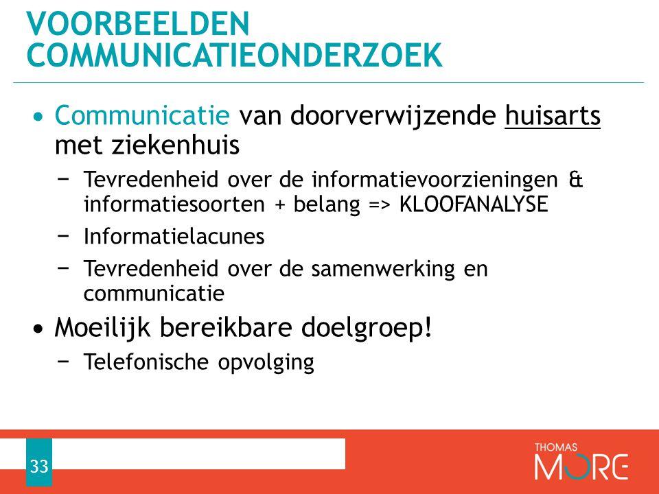 • Communicatie van doorverwijzende huisarts met ziekenhuis − Tevredenheid over de informatievoorzieningen & informatiesoorten + belang => KLOOFANALYSE