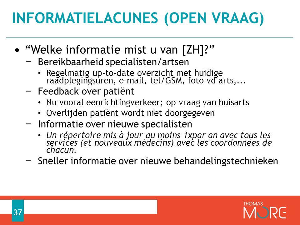 """• """"Welke informatie mist u van [ZH]?"""" − Bereikbaarheid specialisten/artsen • Regelmatig up-to-date overzicht met huidige raadplegingsuren, e-mail, tel"""