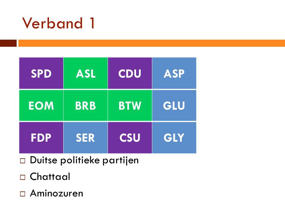 Verband 1  Duitse politieke partijen  Chattaal  Aminozuren SPDASLCDUASP EOMBRBBTWGLU FDPSERCSUGLY