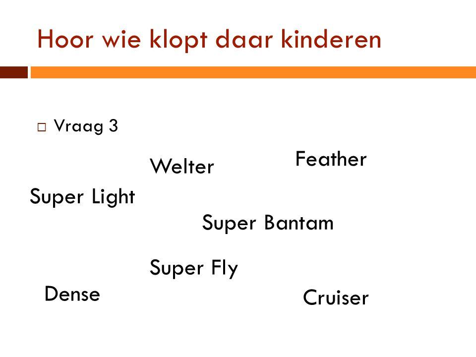Hoor wie klopt daar kinderen  Vraag 3 Super Fly Feather Super Bantam Dense Cruiser Welter Super Light