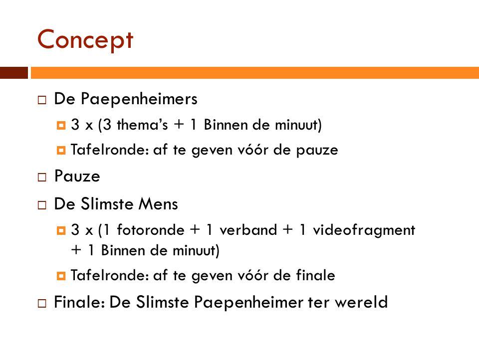 Concept  De Paepenheimers  3 x (3 thema's + 1 Binnen de minuut)  Tafelronde: af te geven vóór de pauze  Pauze  De Slimste Mens  3 x (1 fotoronde