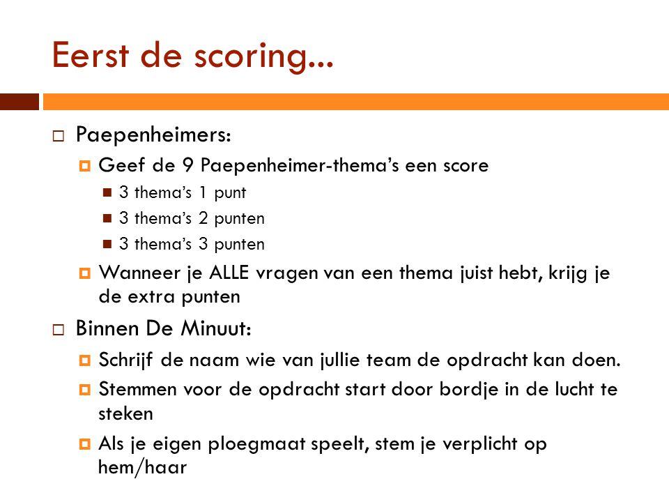 Eerst de scoring...  Paepenheimers:  Geef de 9 Paepenheimer-thema's een score  3 thema's 1 punt  3 thema's 2 punten  3 thema's 3 punten  Wanneer