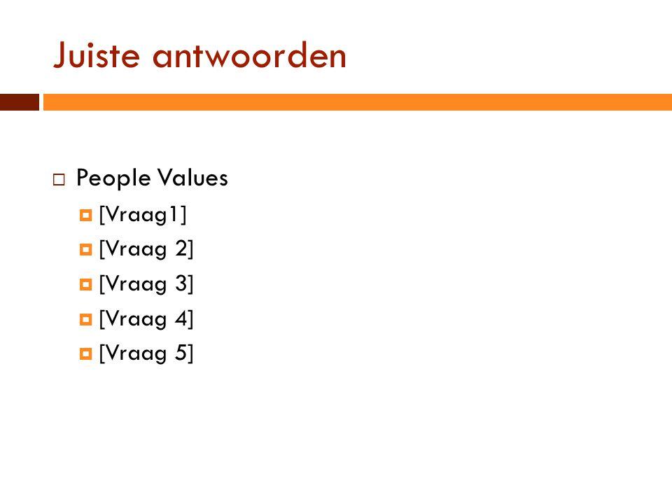 Juiste antwoorden  People Values  [Vraag1]  [Vraag 2]  [Vraag 3]  [Vraag 4]  [Vraag 5]