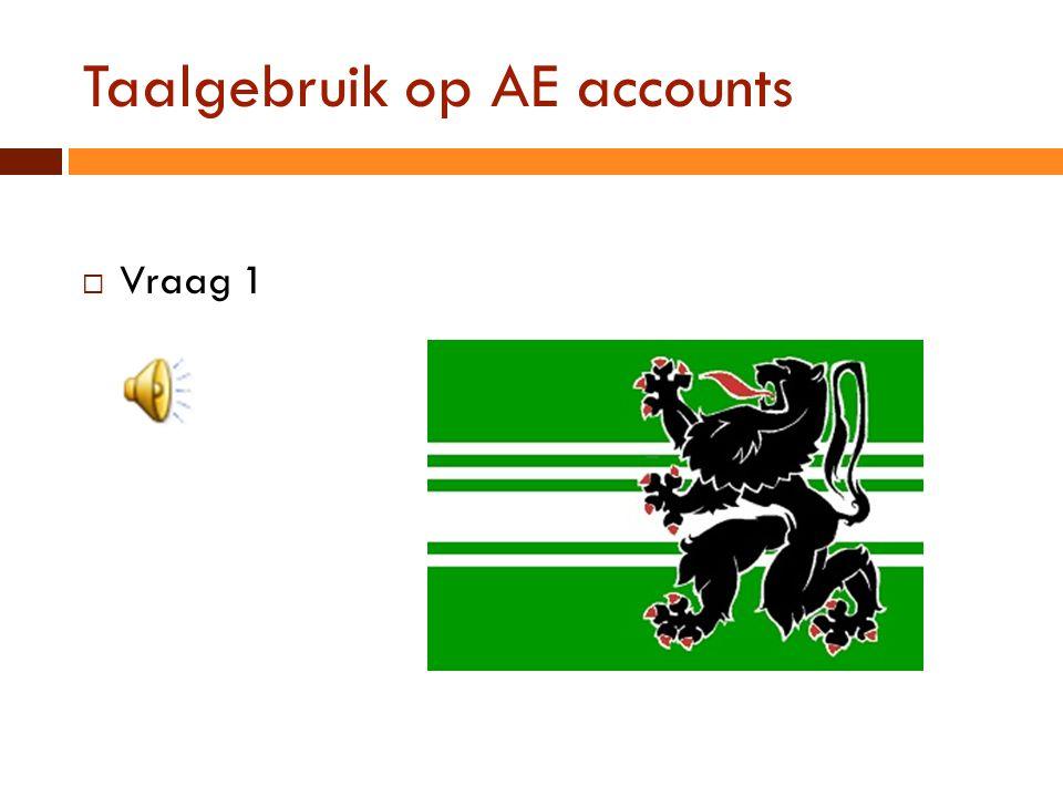 Taalgebruik op AE accounts  Vraag 1