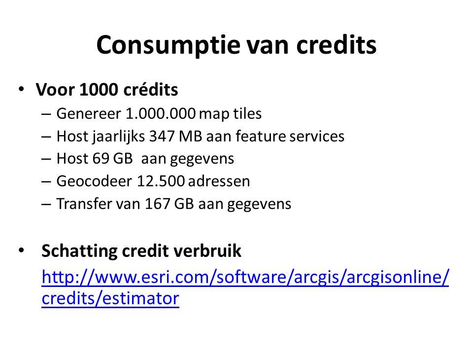 Consumptie van credits • Voor 1000 crédits – Genereer 1.000.000 map tiles – Host jaarlijks 347 MB aan feature services – Host 69 GB aan gegevens – Geo