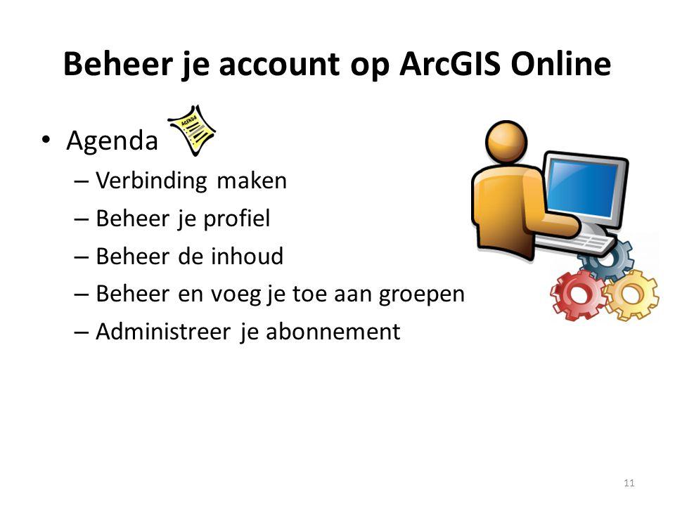 Beheer je account op ArcGIS Online • Agenda – Verbinding maken – Beheer je profiel – Beheer de inhoud – Beheer en voeg je toe aan groepen – Administre
