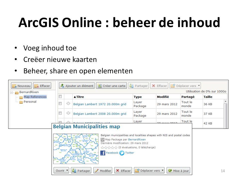ArcGIS Online : beheer de inhoud • Voeg inhoud toe • Creëer nieuwe kaarten • Beheer, share en open elementen 14