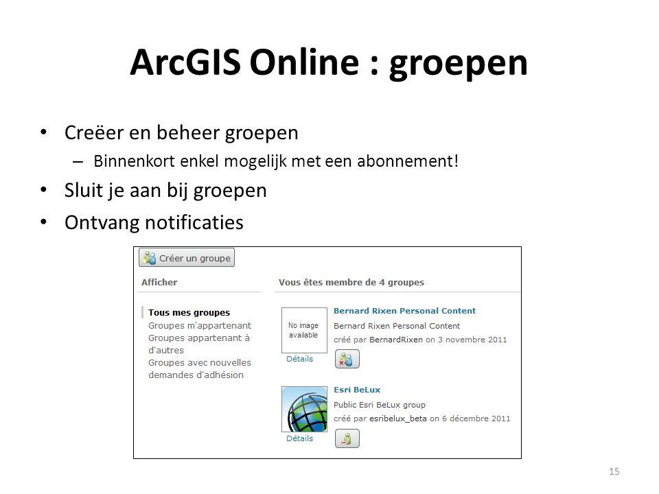 ArcGIS Online : groepen • Creëer en beheer groepen – Binnenkort enkel mogelijk met een abonnement! • Sluit je aan bij groepen • Ontvang notificaties 1
