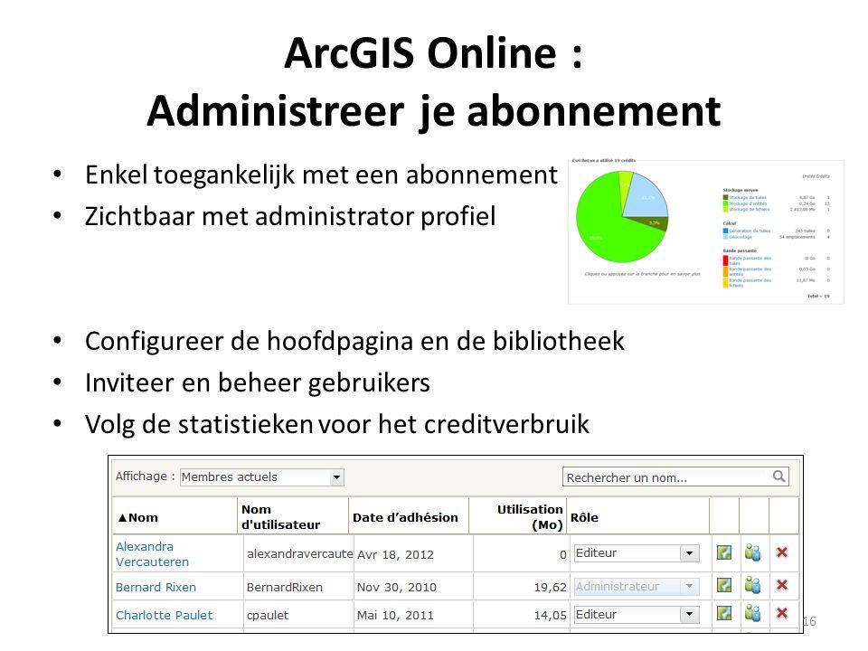 ArcGIS Online : Administreer je abonnement • Enkel toegankelijk met een abonnement • Zichtbaar met administrator profiel • Configureer de hoofdpagina