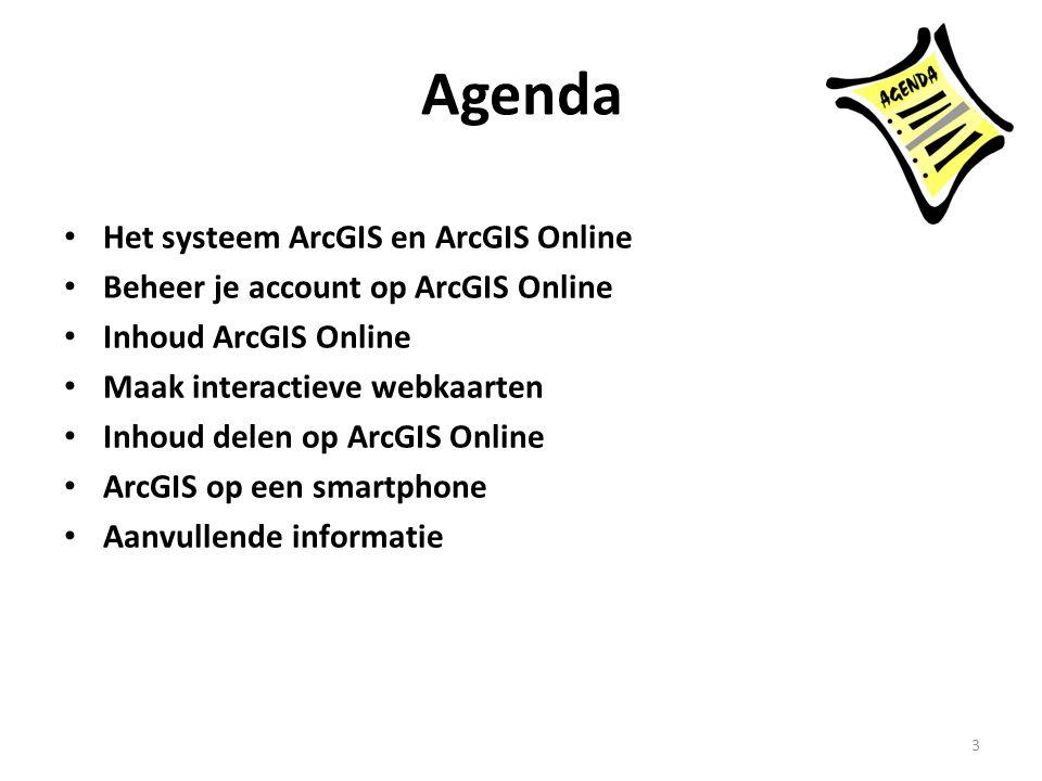 Agenda • Het systeem ArcGIS en ArcGIS Online • Beheer je account op ArcGIS Online • Inhoud ArcGIS Online • Maak interactieve webkaarten • Inhoud delen